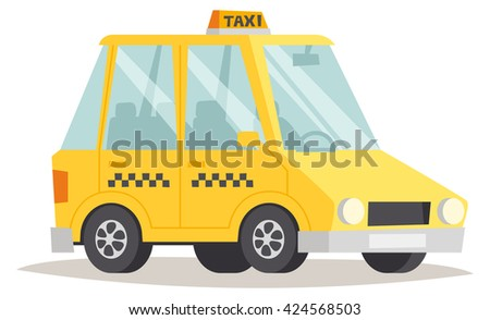 Yellow taxi isolated. Yellow taxi vector and yellow taxi car vehicle. Transportation cab yellow taxi and travel traffic automobile yellow taxi. Urban wheel symbol business sign yellow taxi. - stock vector