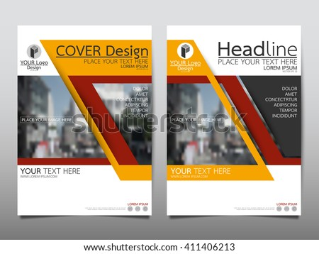 Yellow technology annual report brochure flyer design template vector, Leaflet cover presentation abstract flat background, layout in A4 size - stock vector