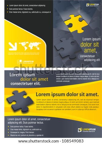Yellow template for advertising brochure with puzzle pieces - stock vector