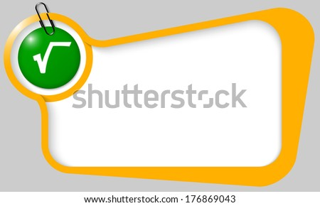 yellow text box for any text with white square root and paper clip - stock vector