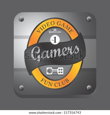 yellow theme video game club button label art - stock vector