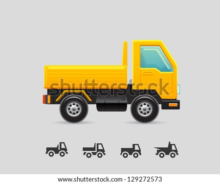 Yellow toy truck - stock vector