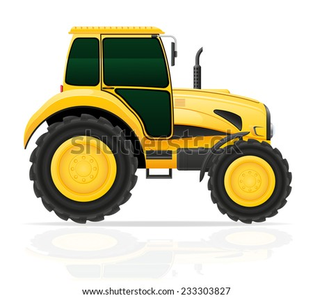 yellow tractor vector illustration isolated on white background - stock vector