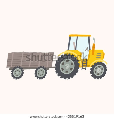 Yellow tractor with trailer.  Vector hand drawn eps 10 illustration isolated on white background. - stock vector