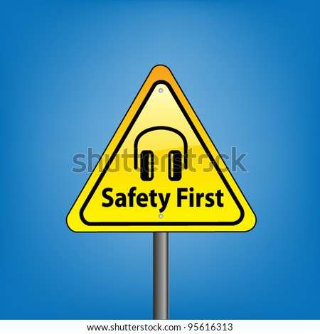 Yellow triangle hazard warning sign against blue sky - safety first ear protection symbol indication, vector version - stock vector