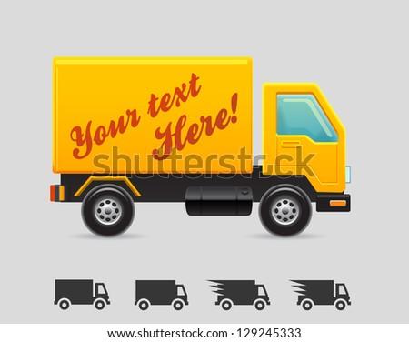 Yellow truck - stock vector