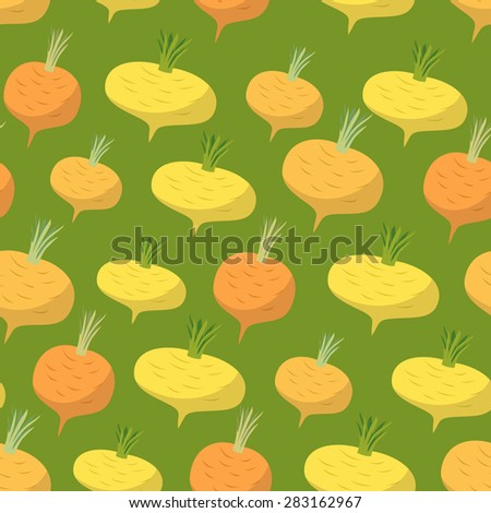 Yellow turnip pattern. Seamless background with turnips. Vector texture - stock vector
