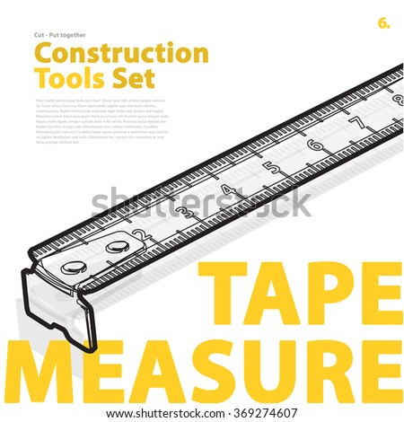 Yellow typography set of construction tools on white. Wire measure tape, nice roulette meter. Black and white, flatten illustration master vector icon, nice catalog page set up. - stock vector