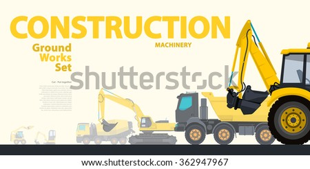 Yellow typography set of ground works machines vehicles - Excavator. Construction equipment for building. Truck, Digger, Crane, Bagger, Mix master vector illustration â?? nice catalog page - stock vector