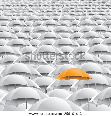 Yellow umbrella in sea of white background with space for copy. EPS 10 vector royalty free stock illustration for marketing, flyer, poster, blogs, illustrate individuality, loneliness, overpopulation - stock vector