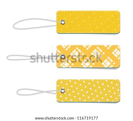 Yellow vector tartan and dotted fabric textured badges with straps - stock vector