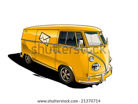 Yellow Vintage delivery truck - stock vector