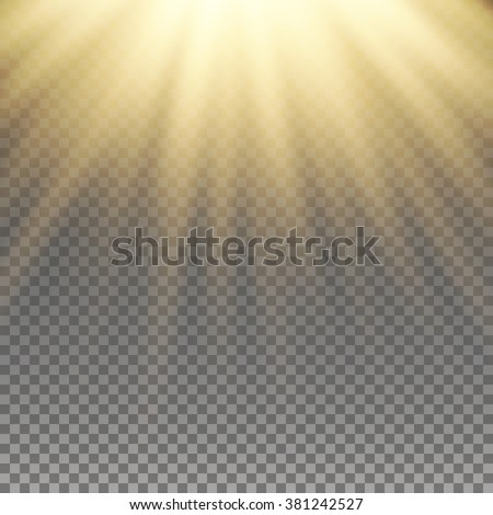 Yellow warm light effect, sun rays, beams on transparent background. Vector illustration. - stock vector