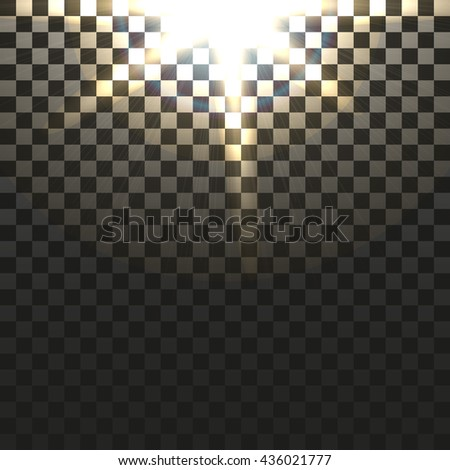 Yellow warm light effect, sun rays, beams on transparent background. Vector illustration. - stock vector