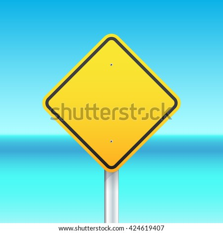 Yellow warning sign on the sea background - stock vector