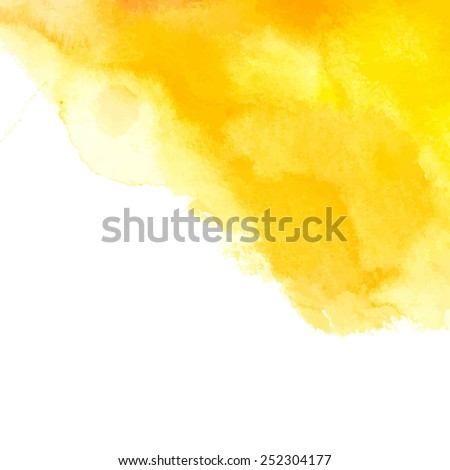 yellow watercolor abstract spot/ vector illustration - stock vector