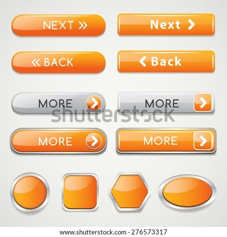 Yellow Website Icon Set : Vector Illustration - stock vector