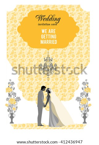 Yellow wedding card. Festive template for design banner, ticket, leaflet, card, poster, invitation  and so on. - stock vector