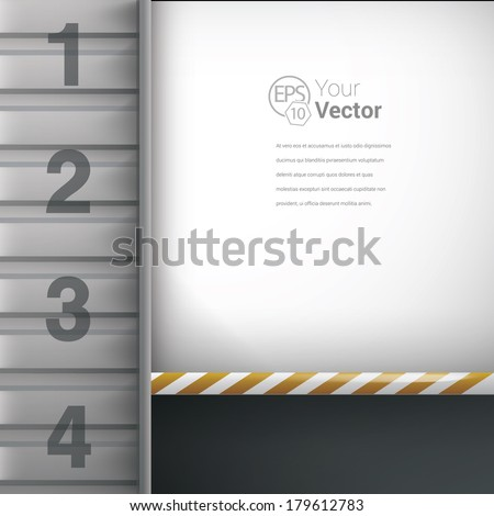 Yellow - white edition of parallel lines steel lamine wall 3d architectural mock-up. Industrial vector building illustration for all different media: web, infographics,brochure - stock vector