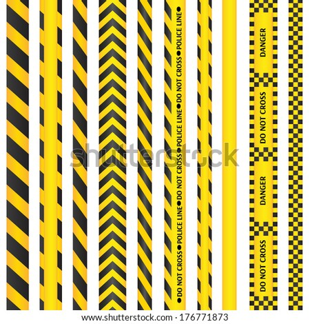 Yellow with black police line and danger tapes. Vector illustration. - stock vector