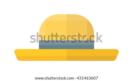Yellow woman hat isolated on white background and flat vector yellow hat. Fashion sun protection yellow hat and summer yellow hat color design. yellow hat style accessory, modern protection lady hat. - stock vector