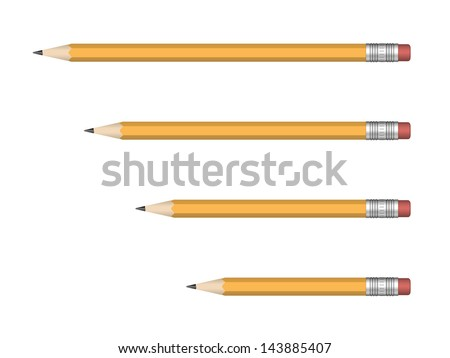 Yellow Wooden sharp pencils isolated on white background. Vector illustration. - stock vector
