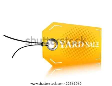Yellow yard sale label - stock vector