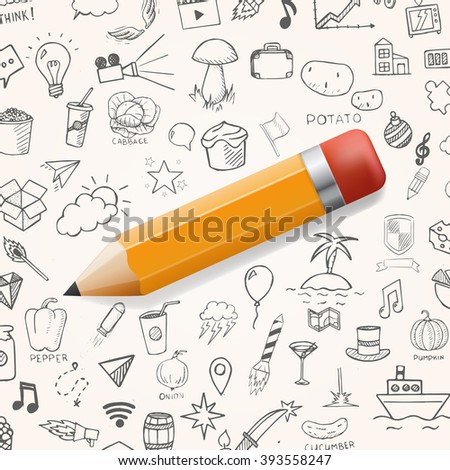 Yelow pencil with group of hand drawn icons, vector doodle objects - stock vector
