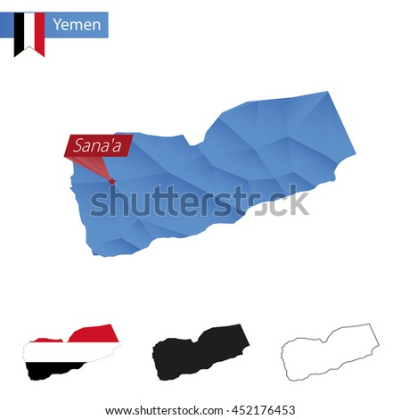 Yemen blue Low Poly map with capital Sanaa, versions with flag, black and outline. Vector Illustration. - stock vector