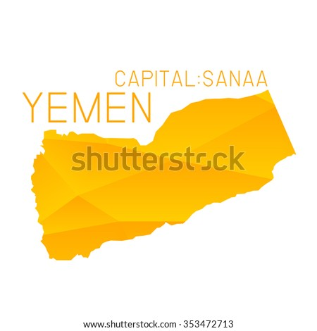 Yemen map geometric background - stock vector