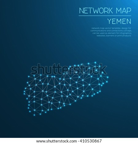 Yemen network map. Abstract polygonal Yemen network map design with glowing dots and lines. Map of Yemen networks. Vector illustration. - stock vector