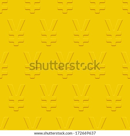 Yen and yuan seamless pattern on a gold plate. Pattern and background are located on different layers - stock vector
