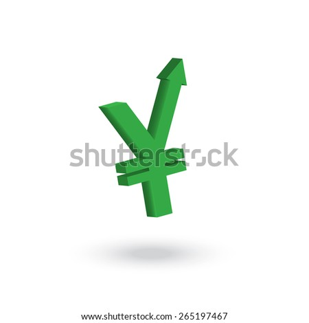 Yen currency symbol with arrow up to the air increasing concept   - stock vector