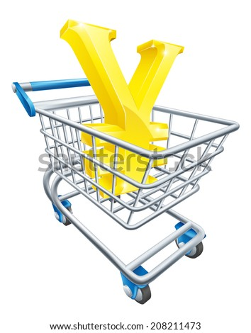 Yen currency trolley concept of Yen sign in a supermarket shopping cart or trolley - stock vector