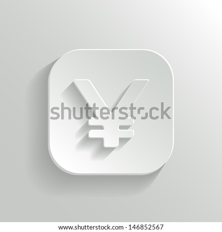 Yen Icon on White Button. Vector Money Symbol. - stock vector
