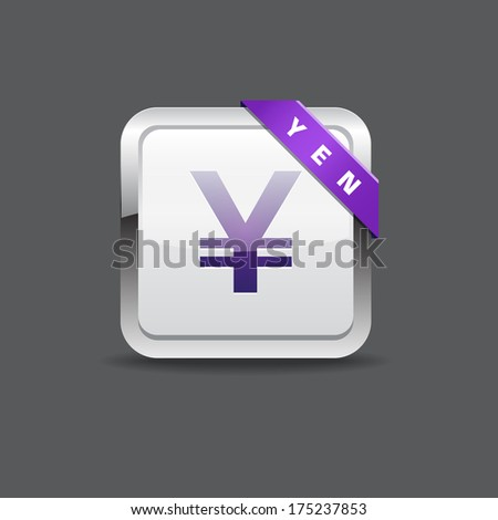 Yen Japanese Sign Rounded Square Vector Button Icon - stock vector