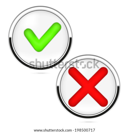 Yer or No Buttons on white background. Vector illustration - stock vector