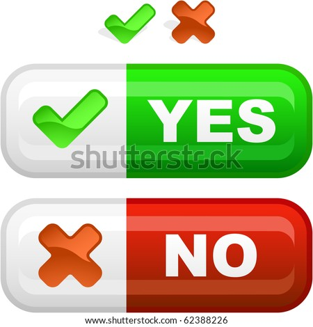 Yes and No button for web. - stock vector