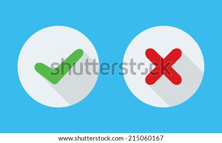 Yes and No check marks on circles. Vector illustration. - stock vector