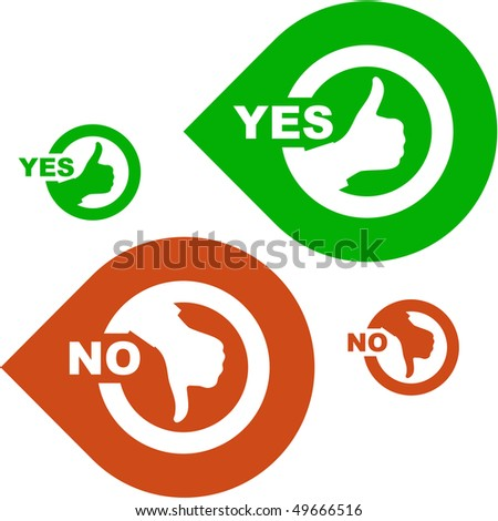 Yes and No icon. Vector set. - stock vector