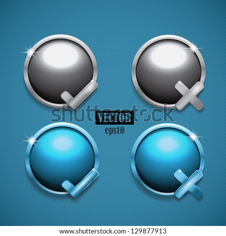Yes and No icons vector. 2 versions. - stock vector