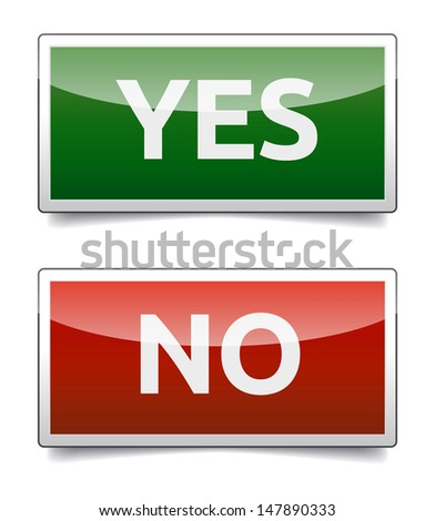 YES - NO color board with shadow on white background. - stock vector