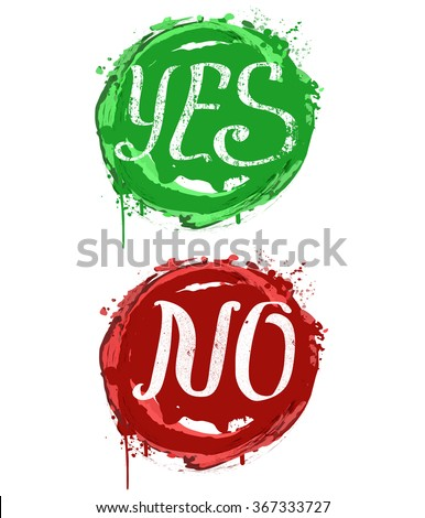 Yes, No composition with splashes - typography card, poster template in red and green colors. Vector vintage letterpress grunge effect - stock vector