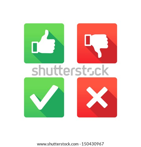 Yes, No, Thumbs up and down icons - stock vector