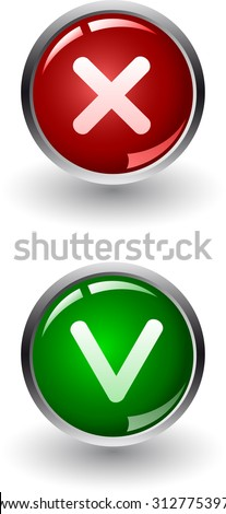Yes or No buttons cons vector,  check marks - stock vector