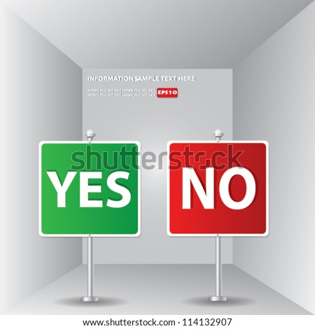 Yes or no signpost for text,Vector - stock vector