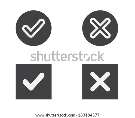 Yes or No, Validation button Icons vector - stock vector