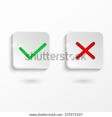 Yes or No vector icons - stock vector