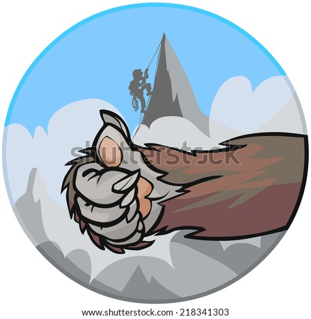 Yeti's hand doing encouraging sign on the background of mountain with climber. - stock vector