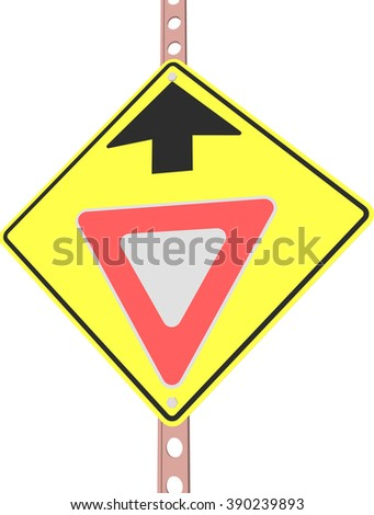 yield ahead - 3d illustration of yellow roadsign isolated on white background - stock vector
